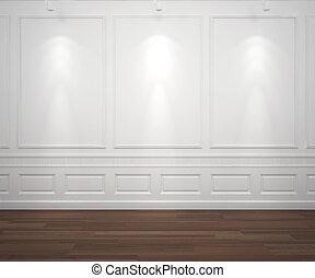 vägg, vit, spotslight, classis