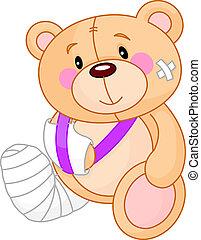 väl, teddy, få, björn