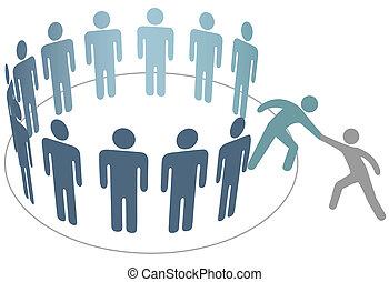 vän, folk, förena, hjälper, medlemmar, grupp, företag, hjälpreda