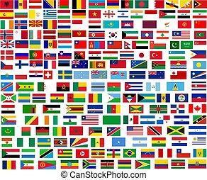 värld, alla, flaggan, länder