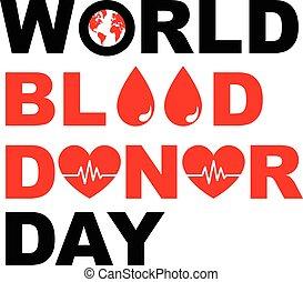 värld, donator, design, blod, dag