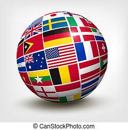 värld, vektor, flaggan, globe., illustration.
