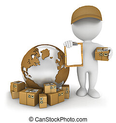 världsomfattande, leverans, vit, 3, folk