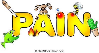 värven, smärta, många