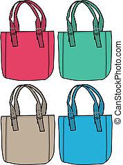 väska, mode, illustration