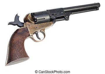 väst, gevär, här, låst, gammal, -, rest upp, revolver