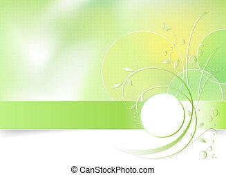 vår blomma, grön fond