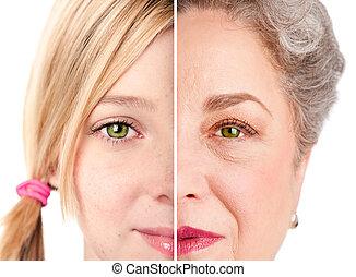 vacker, åldras, ögon, ansikte