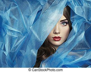 vacker, blå, mode, foto, under, slöja, kvinnor