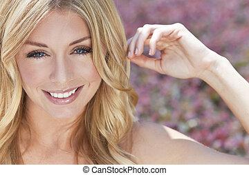 vacker, blått synar, kvinna, blond, naturally