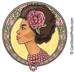 vacker, blommig, kvinna gräns, stående