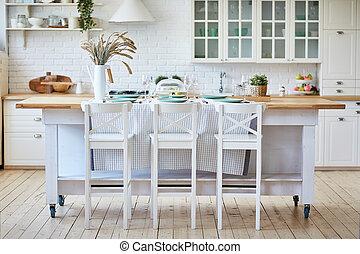 vacker, chairs., trä, ö, bord, vit, kök