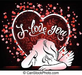 vacker, dig, kärlek, kort, ängel