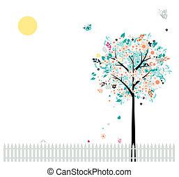 vacker, din, staket, träd, fåglar, blom formgivning