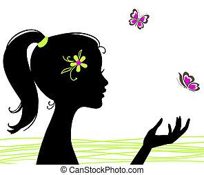 vacker, fjäril, flicka, silhuett