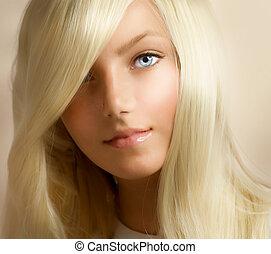vacker, flicka, blond