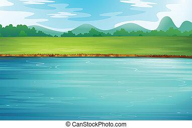 vacker, flod landskap
