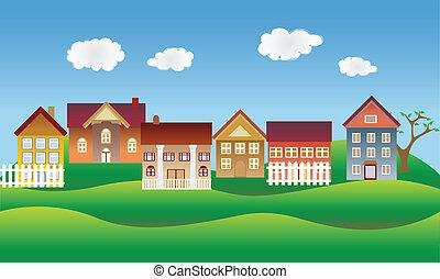 vacker, grannskap, eller, by