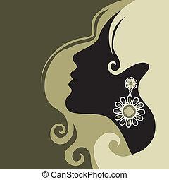 vacker, hår, flicka