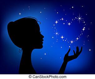 vacker, hjärta, kvinna, silhuett, stjärna