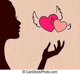 vacker, hjärtan, flicka, silhuett