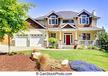 vacker, hus, door., stort, amerikan, röd