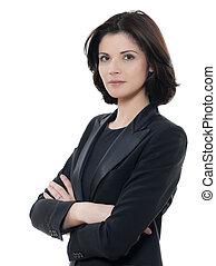 vacker kvinna, affär, isolerat, vapen, allvarlig, studio, bakgrund, stående, korsat, vit, en, caucasian