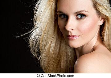 vacker kvinna, blond