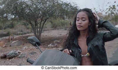 vacker kvinna, motorcykel, gratis, ryttare
