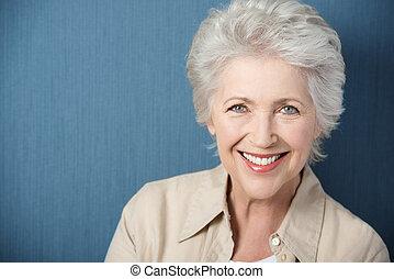vacker, le, dam, livlig, äldre