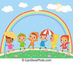 vacker, regnfall, barn, dag, gå