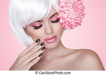 vacker, rosa, mode, nails., skönhet, över, makeup., treatment., flicka, flower., kvinna, bakgrund, manikyrera, stående, blondin, modell