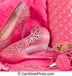 vacker, rosa, sko