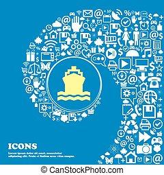 vacker, sätta, centrera, ikonen, en, vridet, symbol., stort, vektor, spiral, icon., underteckna, skepp, trevlig