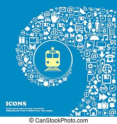 vacker, sätta, centrera, ikonen, tåg, en, vridet, symbol., stort, vektor, spiral, icon., underteckna, trevlig