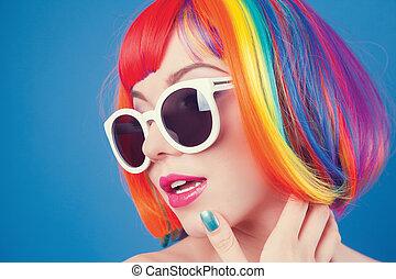 vacker, tröttsam, kvinna, färgrik, peruk