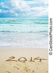 vacker, undertecknar, år, 2014, strand, synhåll