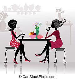 vackra flickor, kafeteria, silhuett