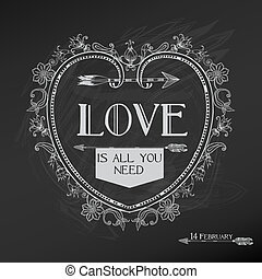valentinkort, årgång, -, kärlek, vektor, design, bröllop dag, kort