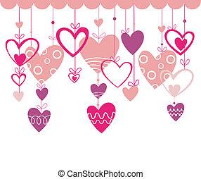 valentinkort, bakgrund, höra, dag