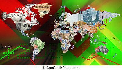 valuta, bakgrund, världen kartlägger