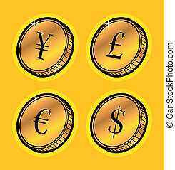 valuta, mynter, gyllene