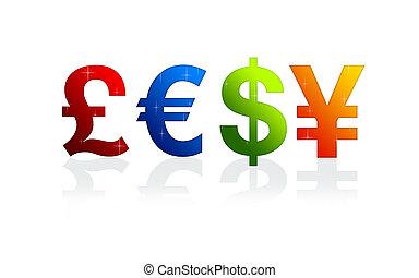 valuta, undertecknar