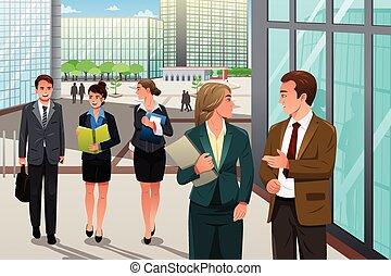 vandrande, kontor, affärsfolk, talande, utanför, deras