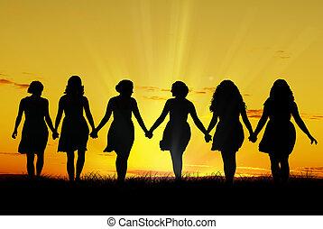 vandrande, kvinnor, hand