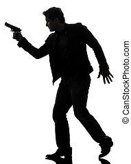 vandrande, silhuett, polisman, mördare, gevär, holdingen, man