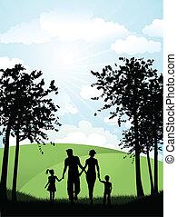 vandrande, utanför, familj