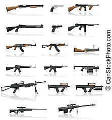 vapen, sätta, gevär, kollektion, ikonen