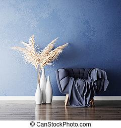 vas, gräs, rum, levande, pampas, stol, blå