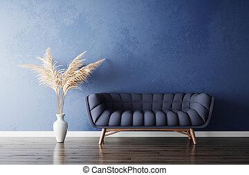vas, vit, gräs, soffa, pampas, blå